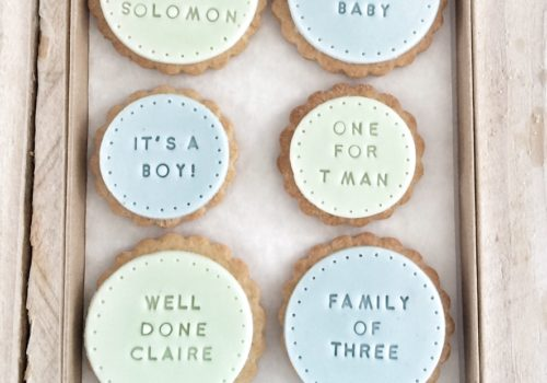 The 'Brand New Baby Boy' biscuits